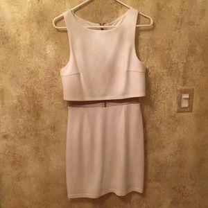 White Mesh Waist Illusion Dress